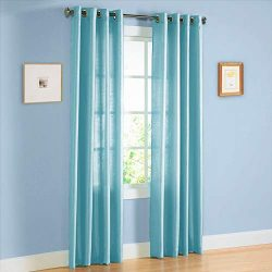 2 Panel Faux Silk Solid Curtain Drapes with Bronze Grommet 84″ Length, Solid Color Short C ...