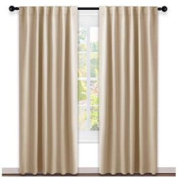 NICETOWN Window Treatment Elegant Curtains – (Biscotti Beige Color) 52 Width X 84, 1 Pair, ...