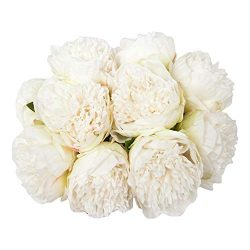 U'Artlines 2Bouquet 10Heads Artificial Peony Silk Flower Leaf Home Office Wedding Party Fe ...