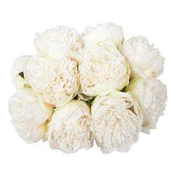 U'Artlines 2Bouquet 10Heads Artificial Peony Silk Flower Leaf Home Office Wedding Party Fe ...
