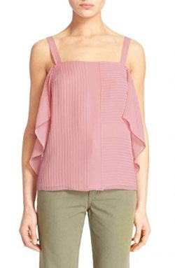 Tory Burch Fleur Pintuck Tank Blouse Top Size 0 Pink