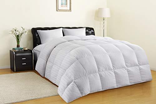 Allrange All-Season 75% White Down Quilted Comforter Duvet, 300TC 100% Cotton Dobby Stripe Cover ...