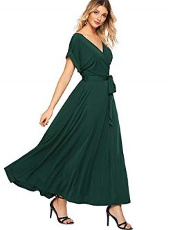 Milumia Women's Boho Deep V Neck Floral Chiffon Wrap Split Long Maxi Dress Green-1 Large