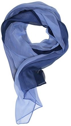 Love Lakeside Modern Chiffon Solid Color Silk Blend Oblong Scarf Blue Ombre