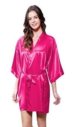 Satin Kimono Bridesmaids Robe (Large, Fuchsia)