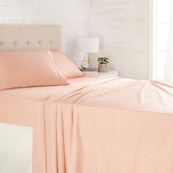 AmazonBasics Light-Weight Microfiber Sheet Set – Queen, Peachy Coral Arrows