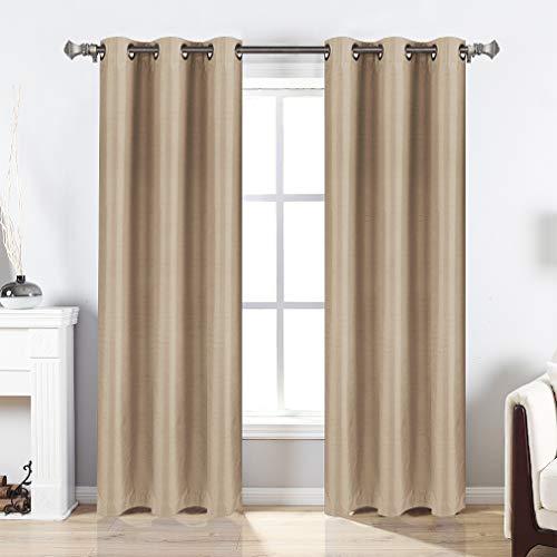 Valea Home Blackout Curtains Grommet Faux Silk Satin Room Darkening Curtain Drapes for Bedroom,  ...