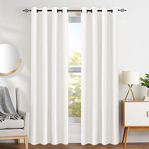 Faux Silk White Curtains for Bedroom 84 inch Length Dupioni Window Curtain Panels for Living Roo ...