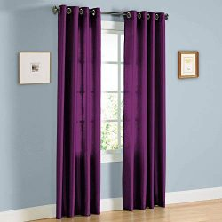 Sapphire Home 2 Panel Faux Silk Solid Curtain Drapes w/Bronze Grommet 84″ Length, Solid Co ...