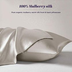 Silk Pillowcase for Hair and Skin – 100% Organic Pure Mulberry Worm Silk – Hidden Zi ...
