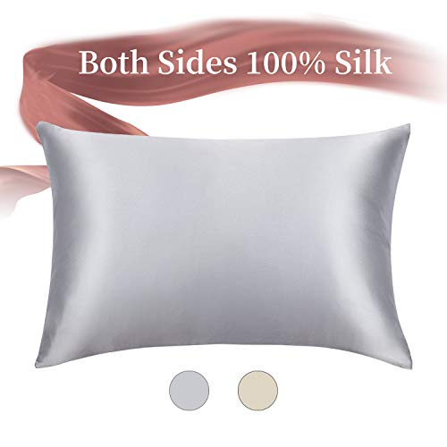 HOMBYS 100% Pure Mulberry Silk Pillowcase for Hair and Skin Smooth Blissy Silk Pillowcase Both S ...