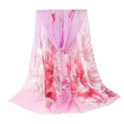 Jinjin Lady Print Scarf Flower Print Long Soft Wrap Scarf Simulation Silk Shawl Scarves Style Un ...