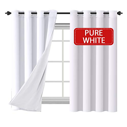 H.VERSAILTEX Grommet Curtains Living Room Curtains 2 Panel Sets, Faux Silk Satin with White Line ...