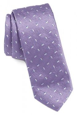 Hugo Boss Floral Slim Woven Italian Silk Tie, Light Purple 50397376