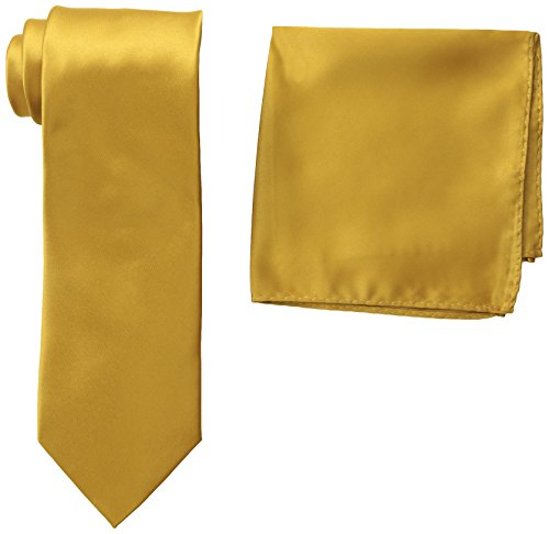 Stacy Adams Men's Satin Solid Tie Set, Gold, One Size