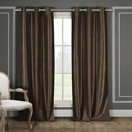 Duck River Textiles Bali Faux Silk Grommet Top Window Curtain 2 Panel Drape, 38″W x 84R ...