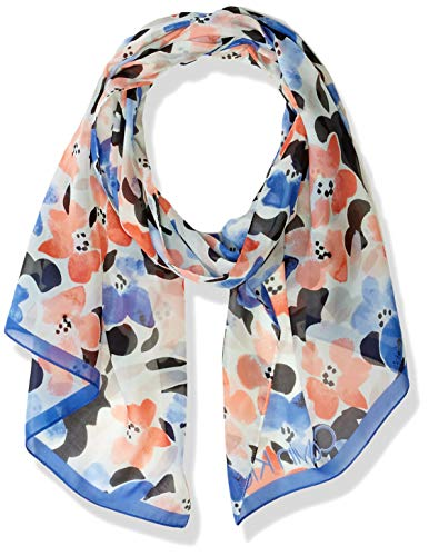 Calvin Klein Women's All Over Floral Print Scarf, Cobalt, One Size