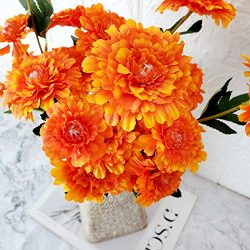 TRvancat Artificial Marigold Flowers 3 Pack, Silk Flowers Bush for Indian Weddings, Indian Theme ...