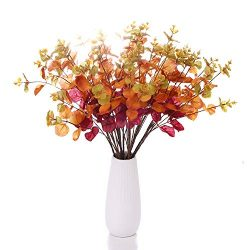 Lucky Bird Artificial Eucalyptus Flower 2pcs Silk Leaf Round Floral Stem Faux Greenery Silver Do ...