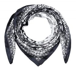 corciova 35″ Women Polyester Silk Feeling Hair Scarf for Sleeping Black and White Paisley
