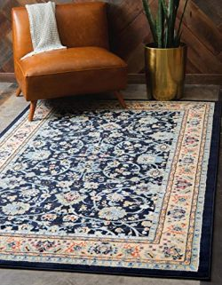 Unique Loom Kashan Collection Traditional Floral Overall Pattern with Border Navy Blue Area Rug  ...