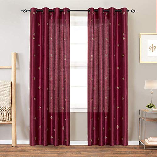 Flur De Lis Embroidered Semi Sheer Curtains for Living Room 95 inches Long Embroidery Curtain Pa ...