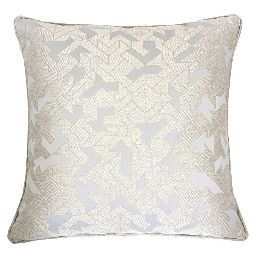 Homey Cozy Satin Jacquard Throw Pillow Cover,Silk Bird Series Gray Geometric Large Sofa Couch Cu ...