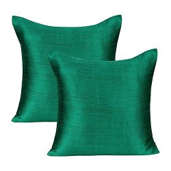 The White Petals Emerald Green Green Pillow Covers (Set of 2 Covers, Faux Raw Silk, Emerald Gree ...