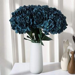 VILIVIT 18 in. H Large Artificial Hydrangea Bouquet Blue – 5 Branch 30 Heads Faux Silk Flo ...