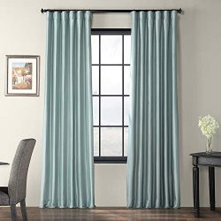 Half Price Drapes PTCH-JTSP5-84 Faux Silk Taffeta Curtain, Robin's Egg