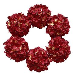 DuHouse Artificial Hydrangea Silk Flowers Fake Burgundy Hydrangea Heads with Long Stem for Weddi ...