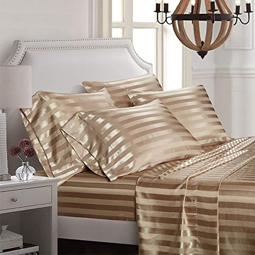 AiMay 6 Piece Bed Sheet Set Deep Pocket Luxury Rich Silk Satin Silky Super Soft Solid Color Stri ...