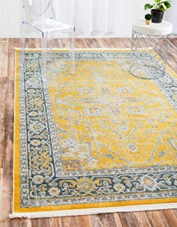 Unique Loom Baracoa Collection Bright Tones Vintage Traditional Yellow Area Rug (5′ 5 x 8& ...