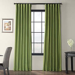 Half Price Drapes PTCH-JTSP100-96 Faux Silk Taffeta Curtain, Fern