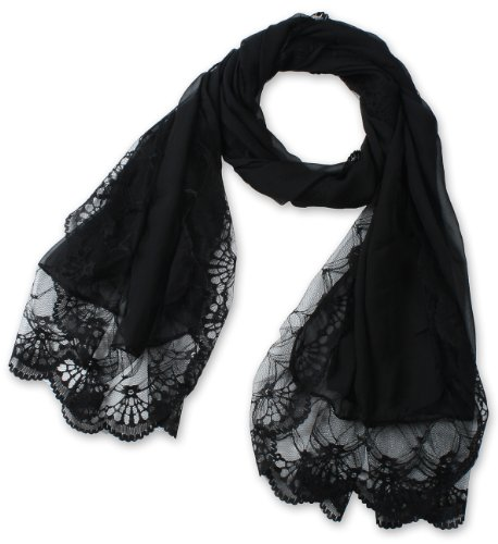corciova Women's Long Lace Imitated Silk Scarf Black