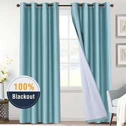 H.VERSAILTEX 100% Blackout Thermal Insulated Curtains Faux Silk Curtain Drapes Noise Reducing &a ...