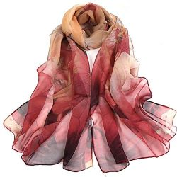 Silk Scarf Fashion Scarves Lightweight Sunscreen Shawls for Women (Red)