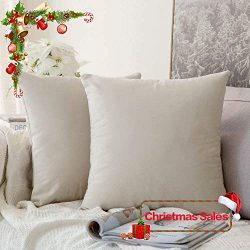 MIULEE Pack of 2, Velvet Soft Soild Decorative Square Throw Pillow Covers Set Cushion Cases Pill ...
