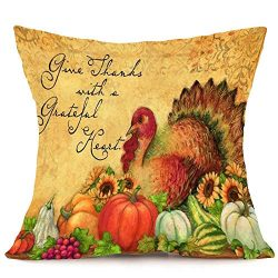 Thanksgiving Day Home Decorative Cotton Linen Throw Pillow Case Cushion Cover Turkey Pattern Sof ...