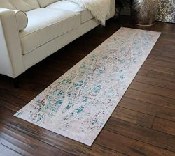 Masada Rugs, Vintage Distressed Faux Silk Area Rug (2 feet x 7 feet) Runner.