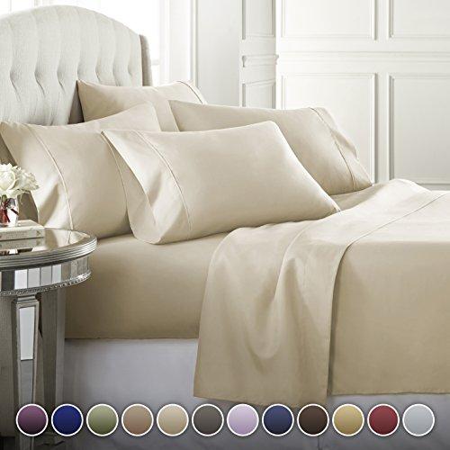 6 Piece Hotel Luxury Soft 1800 Series Premium Bed Sheets Set, Deep Pockets, Hypoallergenic, Wrin ...