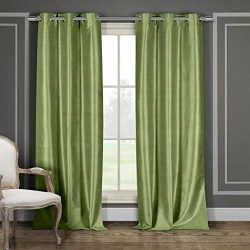 Duck River Textile Daenerys Faux Silk Grommet Top Window Curtain 2 Panel Set, 38 X 96, Sage Green