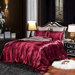 EastElegant Silk Like Duvet Cover Set 3 Pieces Bedding Duvet Cover and Pillow Shams King Size Red