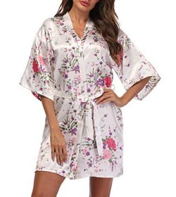 Women's Short Floral Kimono Robe Blossom Bathrobe for Wedding Party Bridal Dressing Gown S ...