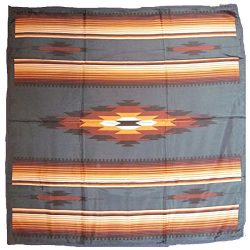 Wyoming Traders Western Cowboy Buckaroo Aztec Print Silk Bandana Scarf Wild Rag, Tan-teal , Large