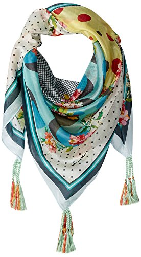 Johnny Was Women's Patterned Silk Square Scarf with Tassels, Freemont Multi, O/S