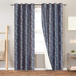 Lined Luxury Faux Silk Floral Embroidered Curtains for Bedroom Embroidery Curtain for Living Roo ...