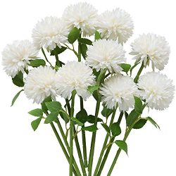 Nubry 10pcs Artificial Flowers Fake Hydrangea Flowers Silk Flower Arrangements Chrysanthemum Bal ...