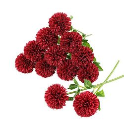 Tifuly 12 pcs Artificial Chrysanthemum Ball Flowers Bouquets for Bride Single Stem Plastic Hydra ...