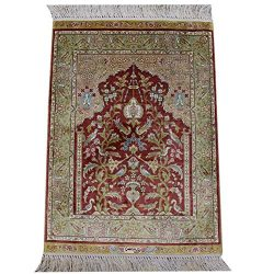 Yilong Carpet Small Silk Handwoven Rug Pad Hand Knotted Silk Carpet Prayer Rug Oriental Area Rug ...